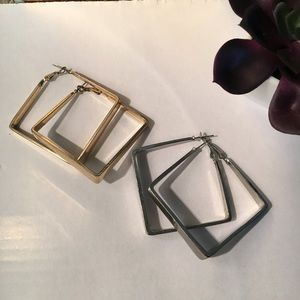 Square earrings gold and silver